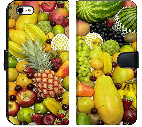 - Apple iPhone 6 Plus / 6S Plus Flip Fabric Wallet Case Image of Fruit Food Orange Grape Fresh Healthy Vitamin Pineapple Diet Nutrition Citrus Group heap Background trop