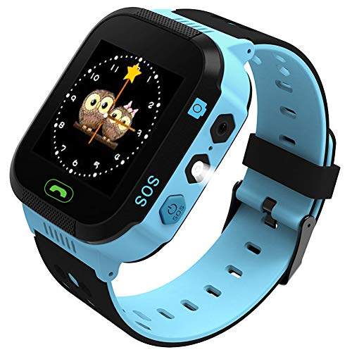 (Rsiosle Kids Positioning Watch, Kids Smartwatch, Watch for Phone Calls, Voice Message, Camera, SOS Connection, Flashlight, Maths Games, Alarms, Daily Waterproof, Environmental Material (Color : Blue))