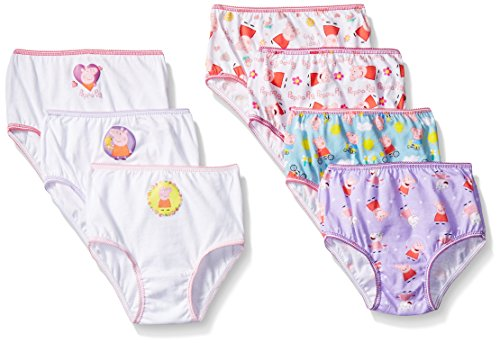 Peppa Pig Girls Combed Cotton Character Toddler 7pk Panty, Assorted, 4T