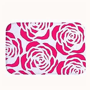 jesspad rosa rosa flor patrón Coral Velvet Interior/Al aire libre Felpudo alfombrillas