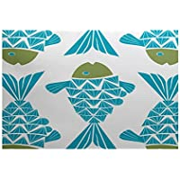 E by design RAN427BL27GR17-35 Big Fish Animal Print Indoor/Outdoor Rug, 3 x 5, Turquoise