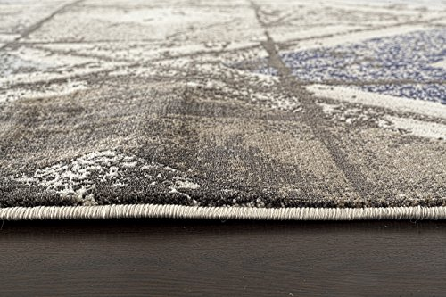 ADGO Ibiza Collection Modern Distressed Shades Geometric Diamond Design Jute Backed Vivid Color Soft Pile Carpet Thick Indoor Kitchen Bedroom Floor Area Rug, Living Dining Room Navy Brown, 3 x 5