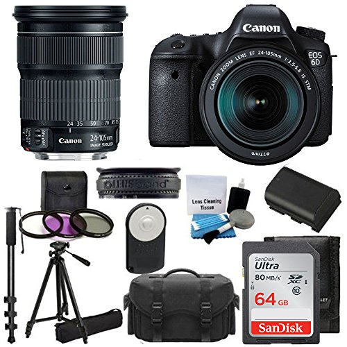 Canon EOS 6D 20.2 MP CMOS Digital SLR Camera with 3.0-Inch LCD and : Canon Zoom Wide Angle-Telephoto EF 24-105mm f/3.5-5.6 IS STM Lens Kit UV Filter Kit With Extra - Track Exact Location Package Of