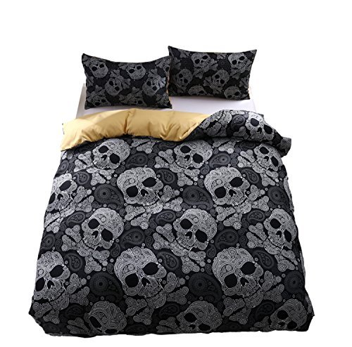 KTLRR Skull Bedding Set,Polyester Fully Modern Flower Skull Gray and Black Duvet Cover Set, Queen Size Decorative 3 Pieces Bedding with 2 Pillow Shams,No Comforter (Skull A, Queen 3pcs)