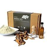 DIY Ravioli Kit - 00 Flour, Porcini Mushrooms, Truffle Oil, Ravioli Stamp, Step-by-Step Instructions