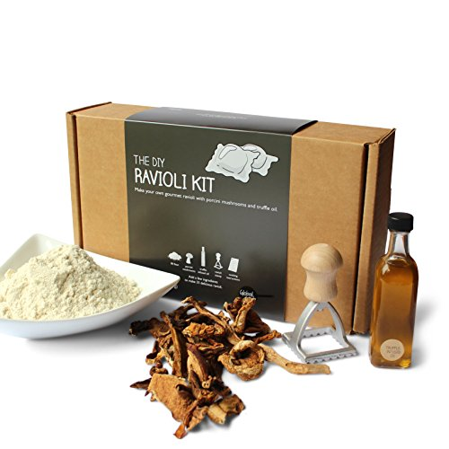DIY Ravioli Kit - 00 Flour, Porcini Mushrooms, Truffle Oil, Ravioli Stamp, Step-by-Step Instructions