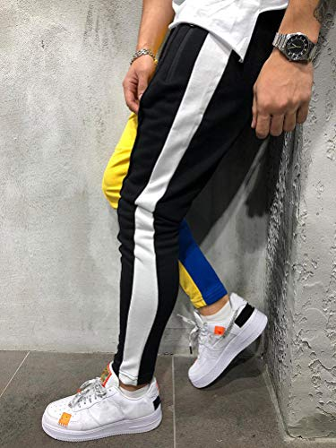 Tomwell Sport Trousers Rayure Coulisse Cargo Pants Con Lunghi Giallo Tasche Uomo Laterali Elastici Pantaloni Casual rwqOIr5