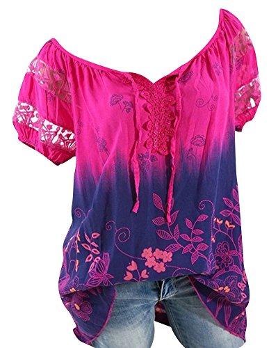 pissure Courtes Rose Blouses Haut Chemisiers Dentelle Femme Casual Shirts Mi Tunique Lache Tops T Manches Longue qzwZgz8P