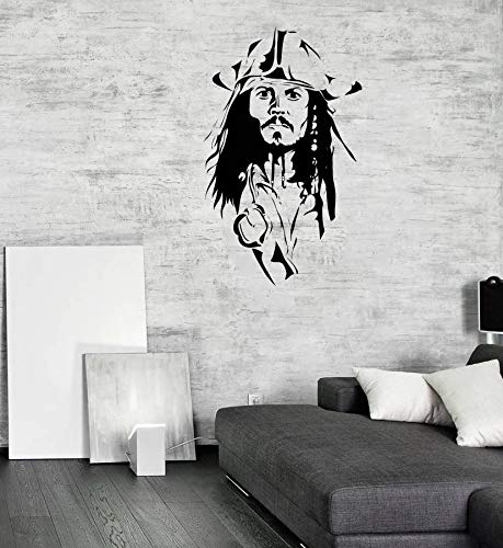 Home Decor with Vinyl Stickers-Jack Sparrow Wall Decal Pirates of The Caribbean Sticker Children - Room Interior Decor Animated Print Vinyl Mural Kids Art Poster Made in The USA Removable -
