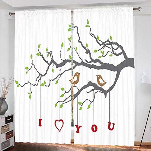 I Love You Custom design Valentines Birds on A Tree Branch Romance Spring Inspiration Artwork curtain Living Room Bedroom Window Drapes 2 Panel Set 108