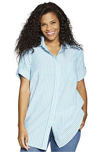 Women's Plus Size Shirt, Seersucker With Generous Fit Waterfall (Seersucker Big Shirt)