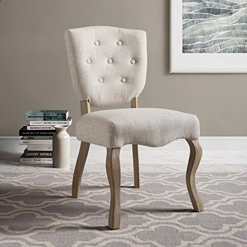 Modway Array Vintage French Upholstered Dining Side Chair, Fully Assembled, One, Beige