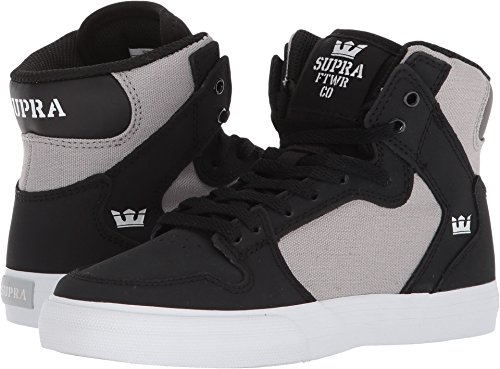 Supra Kids Boy's Vaider (Little Kid/Big Kid) Black/Light Grey/White 5.5 M US Big Kid (Supra High Tops Kids)