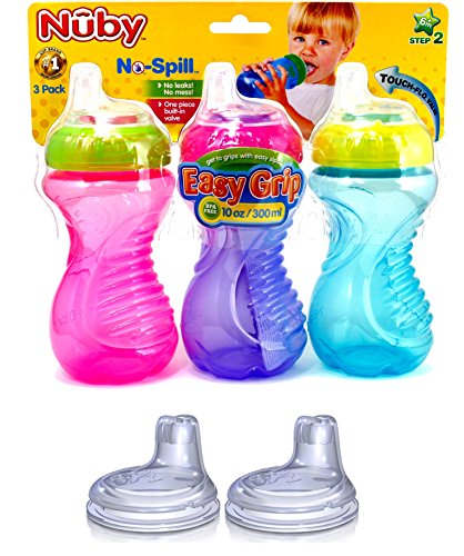 Nuby No Spill Easy Grip 10 Oz Sippy Cups 3 Pack (Pink, Purple & Blue) Plus 2 Pack Replacement Silicone Spouts