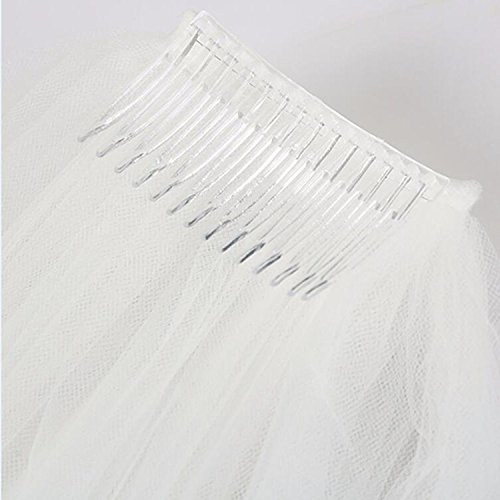 2 Tier Wedding Veil with Comb White Ivory Short Cut Edge Elbow Length (Ivory) by MISSVEIL (Image #6)