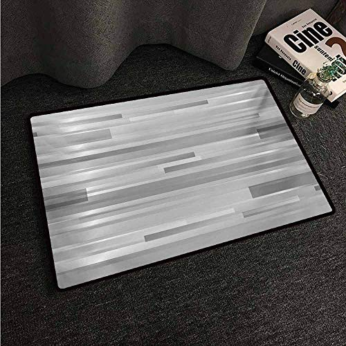HCCJLCKS Printed Door mat Modern Futuristic Striped Web Forms Artistic Contemporary Graphic Fusion Artwork Print Super Absorbent mud W35 xL47 Silver Grey (Monogrammed Fusion)