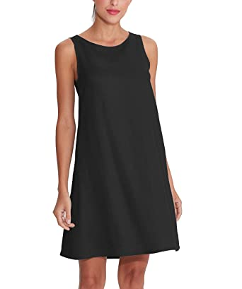 fadf910f Amazhiyu Women's Linen Sleeveless Dresses with Pockets Crew Neck Casual  Tank Dress for Summer (Black
