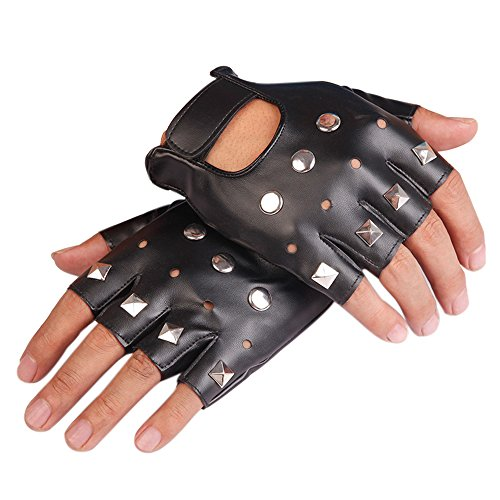 KWLET Fingerless PU Leather Gloves Studded Rock Gothic Punk Rocker Half Finger Driving Motorcycle Gloves Black -