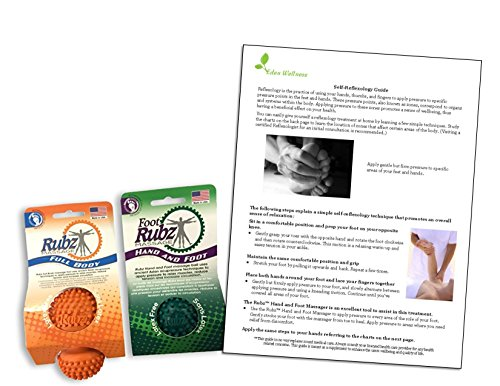 Set of 2 Massage AIDS - Foot, Hand, and Back Massage Ball and Full Body Massager, Bundled with a Reflexology Guide by Rubz