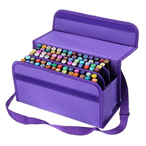 BTSKY Handy 80 Slot Carrying Lipstick Organizer Marker Case Holder for Copic Prismacolor Touch Spectrum Noir Paint S, Purple ()