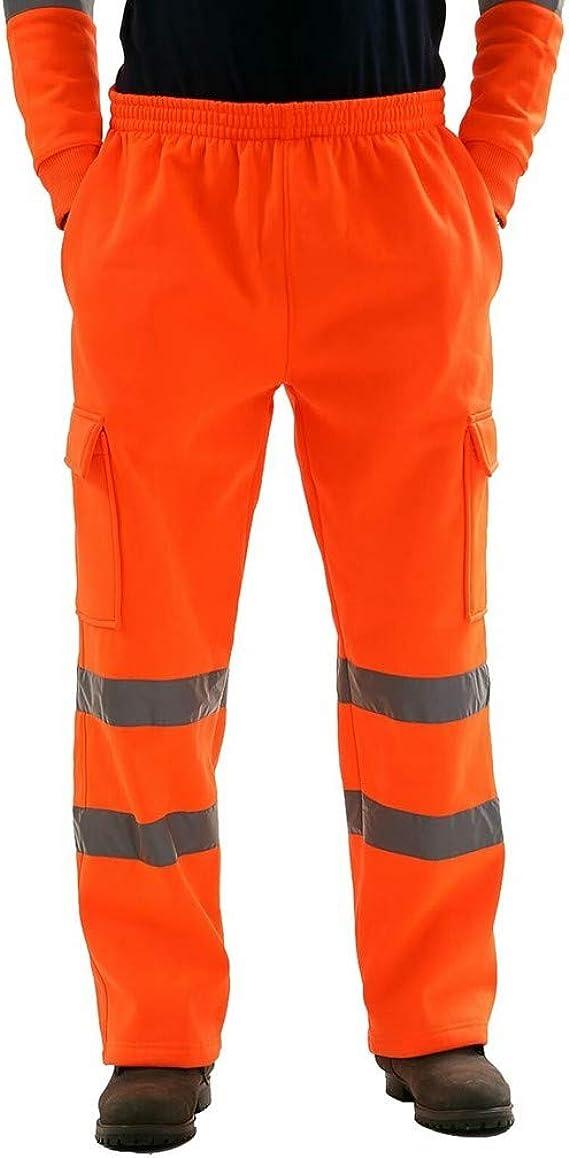 Strir Hombre Pantalon Trabajo Bandas Reflectantes Pantalones Con 2 Cintas De Alta Visibilidad Y Reflectante Refuerzos Y Multibolsillos Amazon Es Ropa Y Accesorios