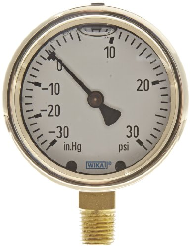 WIKA 9318020 Industrial Pressure Gauge, Liquid-Filled, Co...