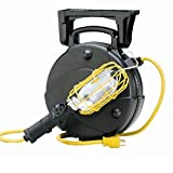 50′ Industrial Incandescent Retractable Cord Reel Work Light with Outlet & Overload Protection 8050M-W
