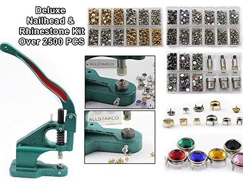 Deluxe Nailhead & Rhinestone Kit - Stud Setter Plus 2500 Nailheads And Rhinestone Studs by KraftGenius