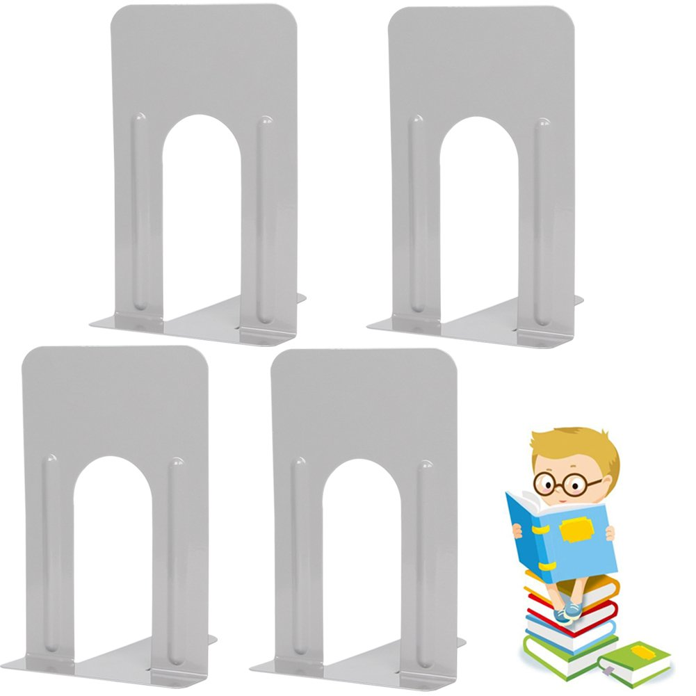 Economy Bookends Universal Heavy for Office,9 Inch, 4pcs(2 Pairs) by Sun Cling,Grey