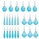 H&D 24pcs Sky Blue Crystal Beads Drop Pendants Chandelier Curtain Lamp Chain Prisms for Wedding Party Centerpieces Decoration