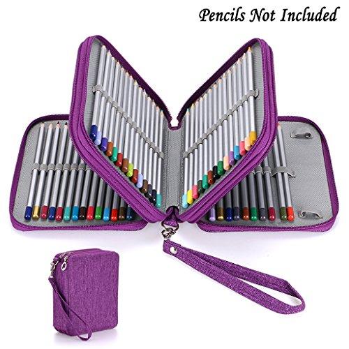 Holder Pencil Case (BTSKY Zippered Pencil Case--Canvas 72 Slots Handy Pencil Holders for for Prismacolor Watercolor Pencils, Crayola Colored Pencils, Marco Pencils (Purple))