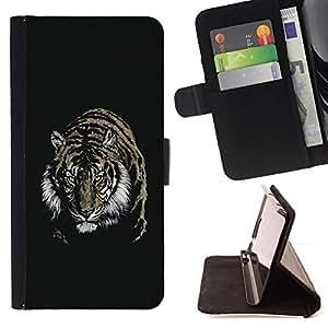 For Samsung Galaxy E5 E500 Case , Tigre Feroz- la tarjeta de Crédito Slots PU Funda de cuero Monedero caso cubierta de piel