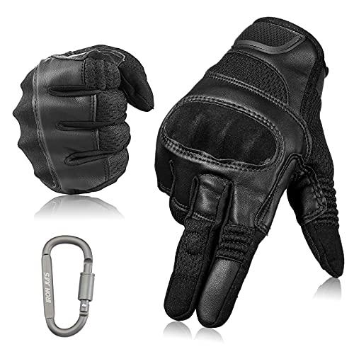 Motorradhandschuhe Touchscreen Vollfinger Motorrad Lederhandschuhe für Männer und Frauen Motorradreithandschuhe mit…