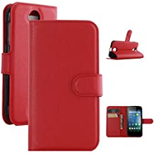 Acer Z330 Case, ANGELLA-M Retro Litchi Texture Wallet Stand Case PU Leather Flip Protective Case Cover For Acer Liquid Z330 Z320 M330 - Red