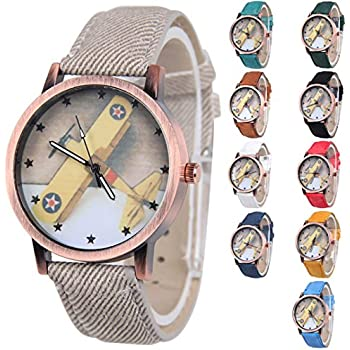 Yunanwa 10pcs Wholesale Relogio Fabric Airplane Cartoon Watch Children Bracelets Watches Women Girls Boys