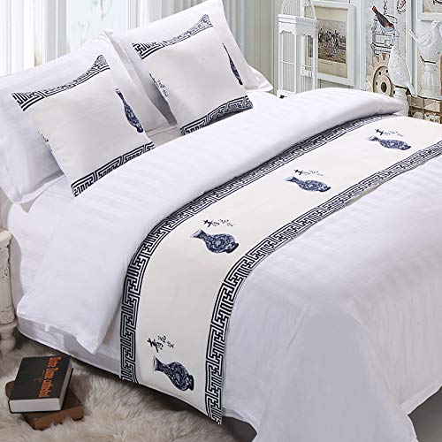 QCQZPL Bed Runner Hotel Hotel Bedding high-Grade Solid Color Bed Tails Bed Flag Bed end mat Bed Cover Bed Decorative Strip, Blue and White Porcelain, Cushion (Pillow) Set (45 45cm) one