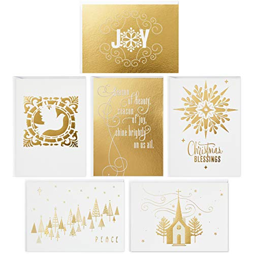Hallmark Religious Christmas Boxed Cards Assortment, Gold Foil (48 Cards with Envelopes)