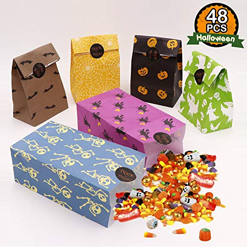 AerWo 48pcs Halloween Treat Bags Paper Gift Bags, Goody Bags with Halloween Stickers for Halloween Party Decorations Supplies -