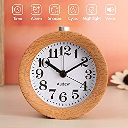 AUDEW Round Wooden Clock,Small Silent Desk Snooze beech Wood Alarm Clock,Handmade Mute Creative Alarm Clock with Nightlight