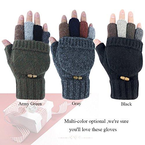Kay Boya Winter Knit Wool Gloves Thicken Warm Gloves Fold Back Gloves for Men & Women (Grey) by Kay Boya (Image #6)