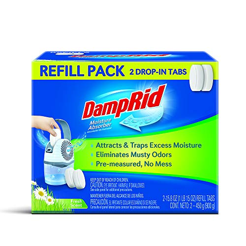 DampRid Drop-in Tab Refill Pack Moisture Absorber, Fresh Scent