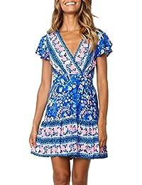 bf7394bd638 Women s Summer Wrap V Neck Bohemian Floral Print Ruffle Swing A Line Beach  Mini Dress