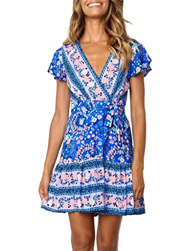 ZESICA Women's Summer Wrap V Neck Bohemian Floral Print Ruffle Swing A Line Beach Mini Dress Blue