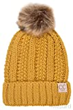 ScarvesMe CC Exclusive 2-7yrs Fuzzy Fleece Lined Baby Kids Toddler Children Winter Beanie with Pom Pom (Mustard)