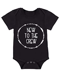 e8dfe2d14 Newborn Baby Boy Clothes Romper New to The Crew Funny Printed Onesies  Bodysuit Outfits