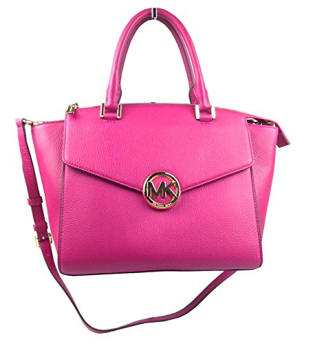 Michael Kors Hudson Leather Large Satchel in Fuschia Pink