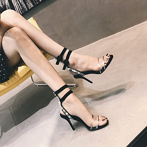 tacchi 37 un ZHANGJIA donne trasparenti piedi fibbie di nero a sandali perle roma le black e paio A1qwZ1