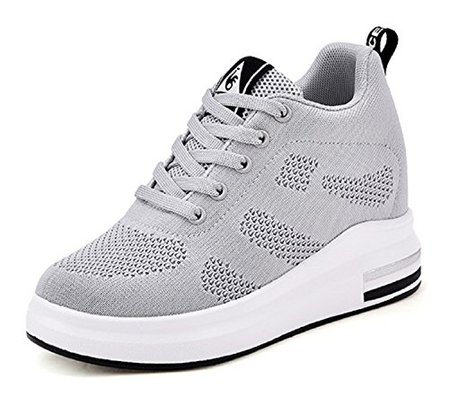 TQGOLD Womens Hidden Wedges High Top Sneakers Height Increase Elevator Shoes High Heels Fashion Mesh(Size 39, Gray) by TQGOLD