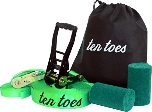 Ten Toes Complete Slackline Kit with 50 ft 2 inch Slackline, Included 50 ft Training Line, Tree Protectors, Carrying Case, Easy Set up for Beginner to Advanced
