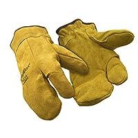 RefrigiWear Three Finger Split Cowhide Leather Mitt with Sherpa Lining